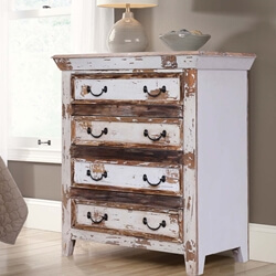 Leigh Distressed Reclaimed Wood White Bedroom Dresser With 4 Drawers