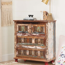 Shiloh Handcrafted Buddha Brass Inlay Reclaimed Wood 4 Drawer Dresser