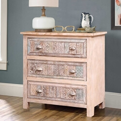 Oclaria Distressed Reclaimed Wood Small Dresser Chest With 3 Drawers