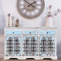Vredenburgh Distressed Reclaimed Wood 3 Drawer Large Sideboard Cabinet