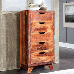 Chirk Handcrafted Reclaimed Wood 5 Drawer Tall Dresser