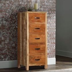 Allensville Reclaimed Wood 5 Drawer Tall Rustic Dresser