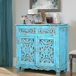 Ventress Distressed Blue Reclaimed Wood 2 Drawer Buffet Cabinet