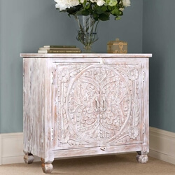 Andover Reclaimed Wood Mandala Pattern Hand Carved Storage Cabinet
