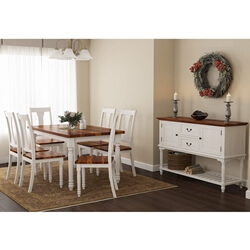 Proberta Two Tone Mahogany Wood 8 Piece Rustic Dining Room Set