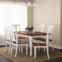 Proberta Two Tone Solid Wood Farmhouse Rustic Dining Table & Chair Set