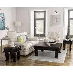 Silverton Solid Wood 3 Piece Square Coffee Table Set