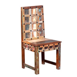 Celinda Handcrafted Waffle Back Reclaimed Wood Dining Chair
