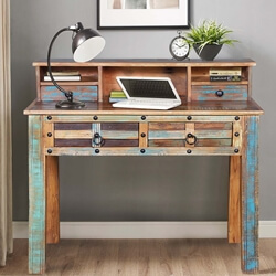 Walstonburg Distressed Solid Reclaimed Wood Desk with Hutch