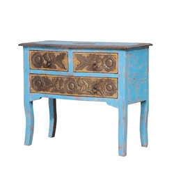 Tontogany Distressed Blue Reclaimed Wood 3 Drawer Console Hall Table