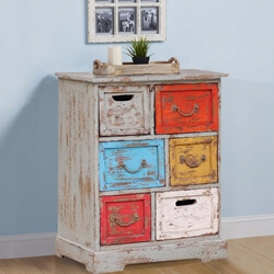 Twinsburg Distressed Reclaimed Wood Multi Color 6 Drawer Dresser