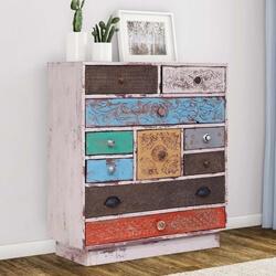 Uniopolis Distressed Reclaimed Wood Multi Color 10 Drawer Dresser