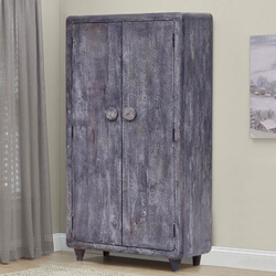 Taneyville Grey Wash Reclaimed Wood Rustic Armoire Cabinet