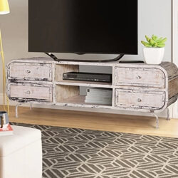 Leonard Whitewash Iron Industrial TV Stand Media Console