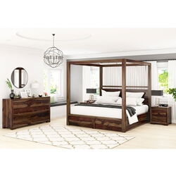 Farson Contemporary 4 Piece Rustic Bedroom Set