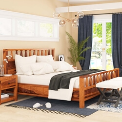 Laspor Rustic Solid Wood Platform Bed