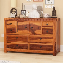 Laspor Rustic Solid Wood 8 Drawer Double Dresser