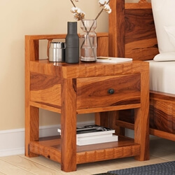 Laspor Rustic Solid Wood 1 Drawer Nightstand