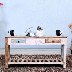 Onekama Reclaimed Wood 2 Drawer Rustic Console Table