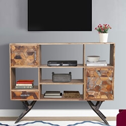 Langdon Reclaimed Wood Iron Spider Base Rustic TV Media Stand