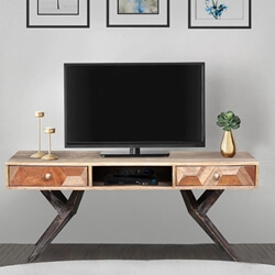 Langdon Reclaimed Wood Spider Leg Base 2 Drawer Rustic TV Media Stand