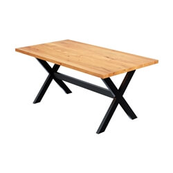Langley Rustic Solid Mango Wood Industrial Iron Dining Table