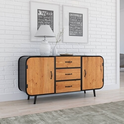 Langley Rustic Solid Wood Industrial Sideboard Cabinet