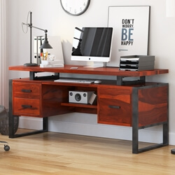 "Hondah Solid Wood 64"" Large Industrial Home Office Computer Desk"