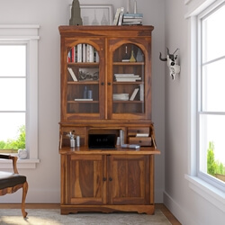 Canistota Tall Drop Front Home Office Secretary Desk With Hutch