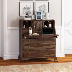 Jasper Rustic Solid Wood Drop Front Home Office Secretary Desk