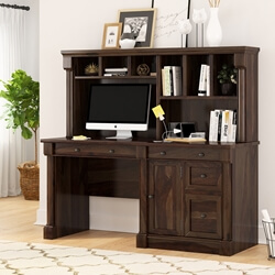 Perrinton Rustic Solid Wood Home Office Computer Desk With Hutch