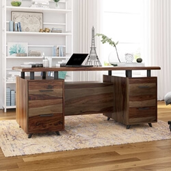 "Hondah Solid Wood 70"" Large Office Executive Desk with Dual Sided Storage"