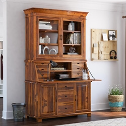 Weldona Rustic Solid Wood Drop Front Home Office Secretary Desk With Hutch