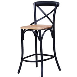 Stennis Solid Wood Iron Industrial Bar Chair