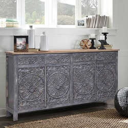 Tipton Reclaimed Wood 4 Drawer Large Sideboard Cabinet