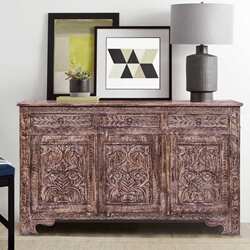 Esmont Reclaimed Wood Handcarved 3 Drawer Large Sideboard