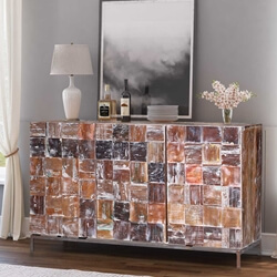 "Tulsa Mosaic Reclaimed Wood 60"" Large Buffet Cabinet"