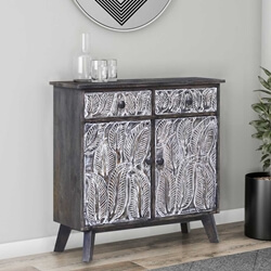 Juliustown Hand Carved Reclaimed Wood 2 Drawer Small Sideboard
