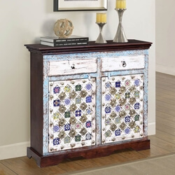 Trafford Reclaimed Wood Brass Accent 2 Drawer Small Sideboard Cabinet