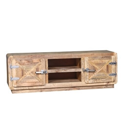 Beclabito Rustic Reclaimed Wood TV Stand Media Console