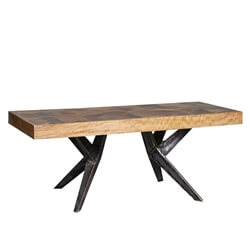 Langdon Reclaimed Wood Iron Spider Leg Industrial Coffee Table