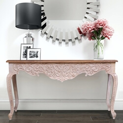 Nordic Reclaimed Wood Hand Carved Floral Entryway Console Table
