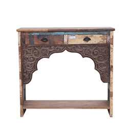 Tullos Reclaimed Wood 2 Drawer Traditional Console Hall Table