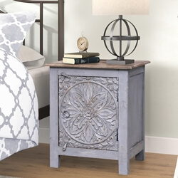 Hereford Reclaimed Wood Handcarved Nightstand