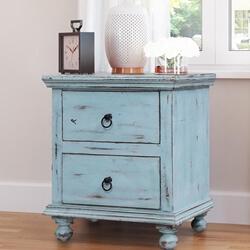 Corydon Distressed Blue Reclaimed Wood 2 Drawer Nightstand