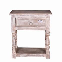 Burgin Grey Wash Reclaimed Wood 1 Drawer End Table
