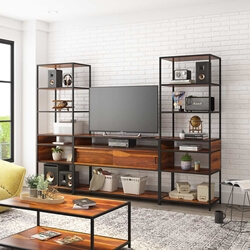 Prescott Rosewood 3 Piece Iron Industrial Entertainment Center