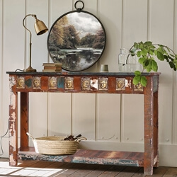 Mayaro Buddha Brass Inlay Reclaimed Wood Console Hall Table
