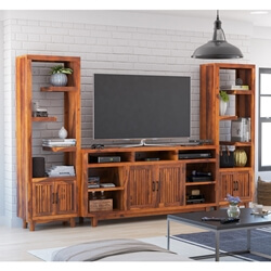Fowlerton Solid Wood Entertainment Center with Bookshelves