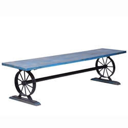 Siparia Reclaimed Wood Industrial Patio Bench